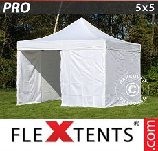 Carpa plegable FleXtents 5x5m Blanco, Incl. 4 lados