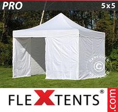 Carpa plegable FleXtents 5x5m Blanco, Incl. 4 lados
