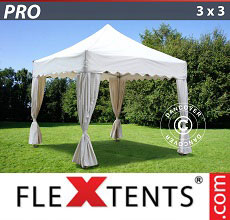 Carpa plegable FleXtents 3x3m Blanco, incl. 4 cortinas decorativas