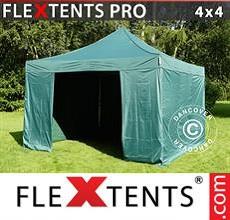 Carpa plegable FleXtents 4x4m Verde, Incl. 4 lados