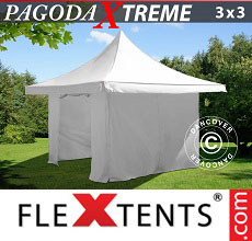 Carpa plegable FleXtents 3x3m / (4x4m) Blanco, Incl. 4 lados