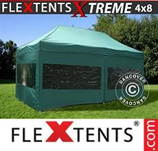 Carpa plegable FleXtents 4x8m Verde, Incl. 6 lados