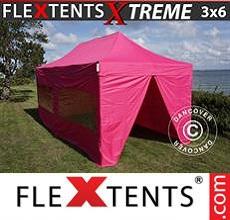 Carpa plegable FleXtents 3x6m Rosa, Incl. 6 lados