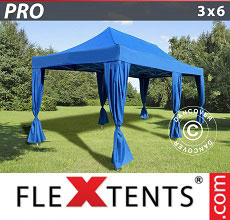 Carpa plegable FleXtents 3x6m Azul, incluye 6 cortinas decorativas