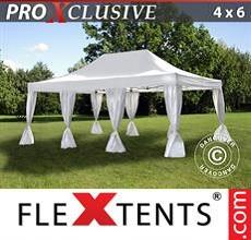 Carpa plegable FleXtents 4x6m Blanco, incl. 8 cortinas decorativas