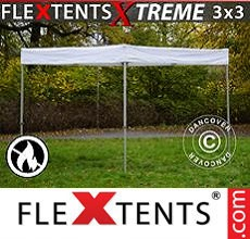 Carpa plegable FleXtents 3x3m, Blanco, Ignífugo