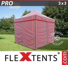 Carpa plegable FleXtents 3x3m rayado, incl. 4 lados