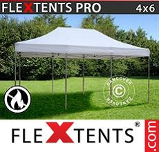 Carpa plegable FleXtents 4x6m Blanco, Ignífuga