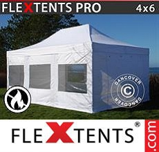 Carpa plegable FleXtents 4x6m Blanco, Ignífuga, Incl. 8 lados