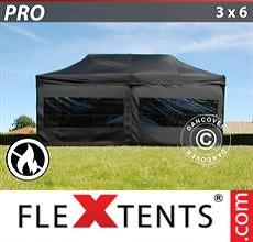Carpa plegable FleXtents 3x6m Negro, Ignífuga, incl. 6 lados