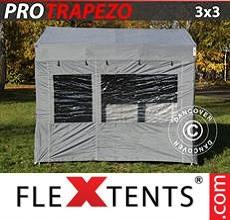 Carpa plegable FleXtents 3x3m Gris, Incl. 4 lados
