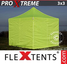 Carpa plegable FleXtents 3x3m Amarillo Flúor/verde, Incl. 4 lados