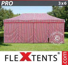 Carpa plegable FleXtents 3x6m rayado, incl. 6 lados