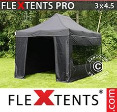 Carpa plegable FleXtents 3x4,5m Negro, Incl. 4 lados