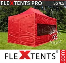 Carpa plegable FleXtents 3x4,5m Rojo, Incl. 4 lados