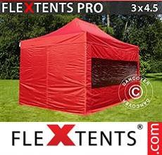 Carpa plegable FleXtents 3x4,5m Rojo, Incl. 4 lados