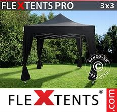 Carpa plegable FleXtents 3x3m Negro, incl. 4 cortinas decorativas
