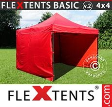 Carpa plegable FleXtents 4x4m Rojo, Incl. 4 lados