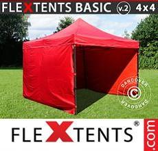 Carpa plegable FleXtents 4x4m Rojo, Incl. 4 lados
