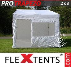 Carpa plegable FleXtents Trapezo 2x3m Blanco, Incl. 4 lados