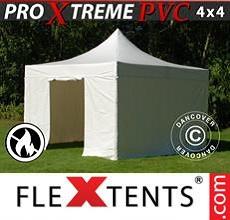 Carpa plegable FleXtents 4x4m, Blanco incl. 4 lados