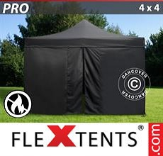 Carpa plegable FleXtents 4x4m Negro, Ignífuga incl. 4 lados