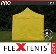 Carpa plegable FleXtents 3x3m Amarillo, Incl. 4 lados