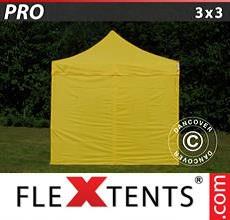 Carpa plegable FleXtents 3x3m Amarillo, Incl. 4 lados