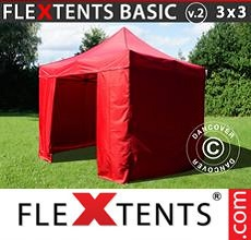 Carpa plegable FleXtents 3x3m Rojo, Incl. 4 lados