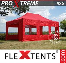 Carpa plegable FleXtents 4x6m Rojo, Incl. 8 lados