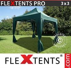 Carpa plegable FleXtents 3x3m Verde, incl. 4 cortinas decorativas