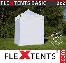 Carpa plegable FleXtents 2x2m Blanco, Incl. 4 lados