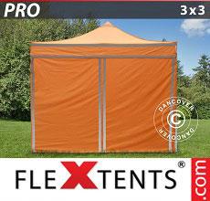 Carpa plegable FleXtents 3x3m Naranja reflectante, Incl. 4...