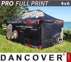 Carpa plegable FleXtents PRO con impresión digital completa, 4x6m, incluye 4...