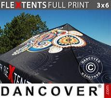 Cubierta de techo impresa con cenefa para carpa plegable FleXtents® PRO 3x6m