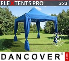 Carpa plegable FleXtents PRO 3x3m Azul, incluye 4 cortinas decorativas