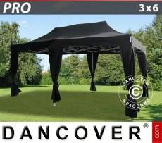 Carpa plegable FleXtents PRO 3x6m Negro, incluye 6 cortinas decorativas