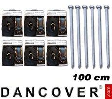Pack de seguridad PRO 6 (estacas 100cm y cinchas de sujeción)