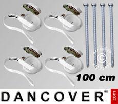 Pack de seguridad 4 (estacas 100cm y cinchas de sujeción), Blanco
