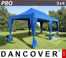 Flextents Carpas Eventos 3x6m Azul, incluye 6 cortinas decorativas