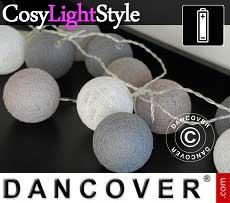 Guirnalda de luces LED con bolas de algodón, Gemini, 30 LEDs, Mezcla de grises