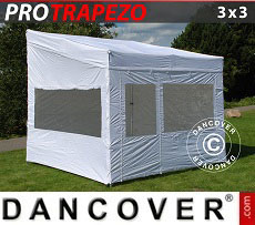 Carpa plegable FleXtents PRO Trapezo 3x3m Blanco, Incl. 4 lados