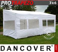 Carpa plegable FleXtents PRO Trapezo 3x6m Blanco, Incl. 4 lados