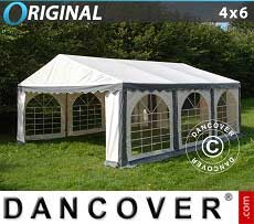 Tendoni Gazebi Party Original 4x6m PVC, Grigio/Bianco