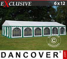 Tendoni Gazebi Party Exclusive 6x12m PVC, Verde/Bianco