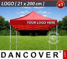1 Stampa logo 21x200cm sulla frangia del FleXtents, allineata a destra