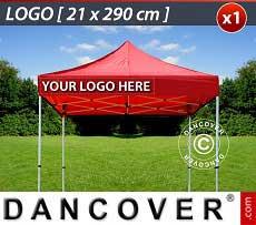 1 Stampa logo 21x290cm sulla frangia del FleXtents, allineata a sinistra