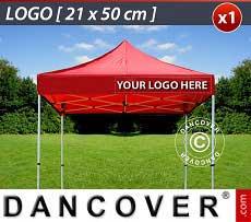 1 Stampa logo 21x50cm sulla frangia del FleXtents, allineata a destra