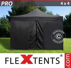 Tenda per racing PRO 4x4m Negro, incl. 4 fianchi