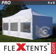 Tenda per racing PRO 4x6m Bianco, inclusi 8 fianchi